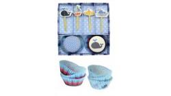 Set 48 pezzi - Pirottini e decorazioni Cupcake, muffin - tema marino, pesci e barche