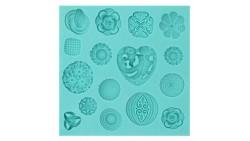 Stampo in Silicone Bottoni, Cuori e fiori - per decorazioni in pasta di zucchero, gesso ecc.