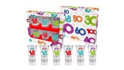 Set 6 Bicchieri per sciortini LIQUORE - Buon Compleanno 18 ANNI