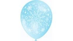 10 PALLONCINI in LATTICE frozen stampa fiocchi di neve bianchi colore CELESTE