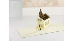Biglietto d'auguri Origamo Matrimonio 3D - Chiesetta Sposi