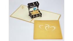 Biglietto d'auguri Origamo Anniversario, Matrimonio 3D - Fedi