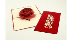 Biglietto d'auguri Origamo Compleanno, Amore 3D - Rosa Rossa