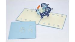 Biglietto d'auguri Origamo Nascita, battesimo 3D - Passeggino Bimbo