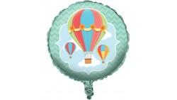 Pallone Cielo con MONGOLFIERA - palloncino in foil Mylar gonfiabile ad aria o elio Ø45cm