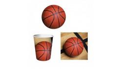 Kit Festa BASKET, pallacanestro - addobbo tavolo piatti, bicchieri e tovaglioli