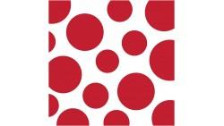 16 TOVAGLIOLI Pois e Strisce Zig Zag Rosse -  in carta monouso - 33 x 33cm