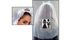 cerchietto  Velo Nuziale Sposa con scritta GAME OVER- idea scherzo gaget addio al Nubilato