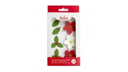 Kit NATALE in ZUCCHERO - Agrifoglio, Stella di Natale - decorazione per torte e dolci