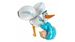 PALLONE Cicogna IT'S A BOY celeste NASCITA 3D 157+66 CM
