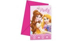 6 Inviti PRINCIPESSE Disney con busta - per festa party di compleanno - festa per bambini