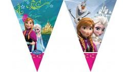 Festone BANDIERINE FROZEN in PVC 2,3mt - addobbo decoro tavolo torta - Elsa e Anna