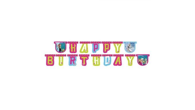 Festone Compleanno FROZEN 2,15mt - addobbo decoro tavolo torta - festa per bambini