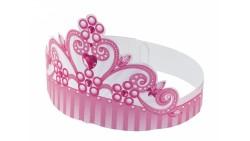 6 CORONE coroncine Principessa ROSA in cartoncino- fasce cappellini festa per bambine