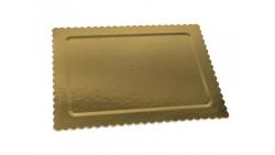 Vassoio rettangolare ALA oro/nero in cartone, piatto sottotorta rigido 50x40cm