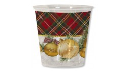 8 Bicchieri Kristall in plastica quadretti scozzese - addobbo decoro tavola natalizia