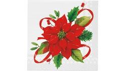 20 TOVAGLIOLI in carta stella di NATALE rossa - addobbo decoro tavola natalizia