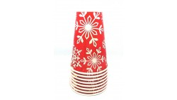 8 BICCHIERI in carta NATALE Rosso con Fiocchi di neve - addobbo decoro tavola natalizia