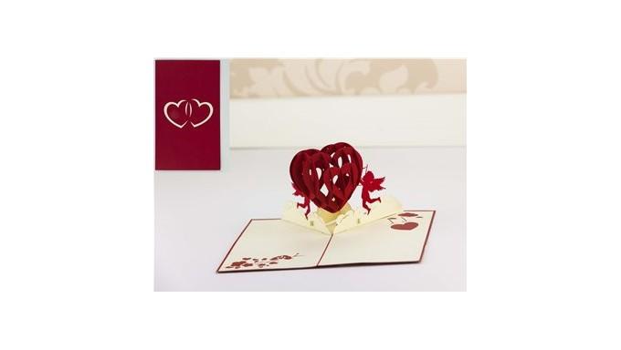 Biglietto D Auguri Origamo Compleanno Amore 3d Cuore Innamorati