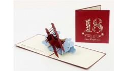Biglietto d'auguri Origamo Compleanno, generico 3D - 18 anni AEREO