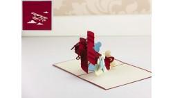 Biglietto d'auguri Origamo Compleanno, generico 3D - AEREO Biplano