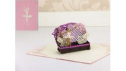 Biglietto d'auguri Origamo Compleanno, generico 3D - BALLERINA