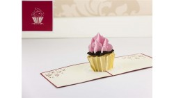Biglietto d'auguri Origamo Compleanno, generico 3D - CUPCAKE