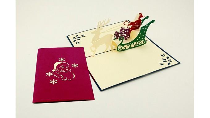 Biglietto Dauguri Origamo Compleanno Natale 3d Slitta