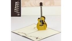 Biglietto d'auguri Origamo Compleanno, generico 3D - CHITARRA musica