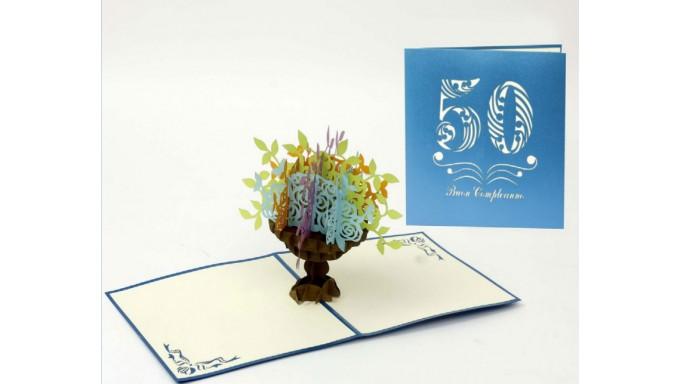 Biglietto Dauguri Origamo Compleanno Generico 3d Vaso Fiori 50 Anni