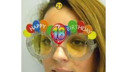 Occhiali di COMPLEANNO 18 ANNI con palloncini colorati Happy Birthday - gadget