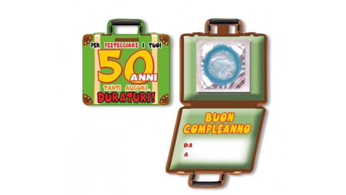 Mini Biglietto D Auguri Augurale Porta Profilattico 50 Anni Con