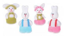 4 Soggetti in zucchero CONIGLIETTI pasquali assortiti 3D - decorazione per torte