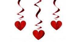 3 Pententi con CUORE ROSSO Lucido -  Ghirlanda Festone San Valentino