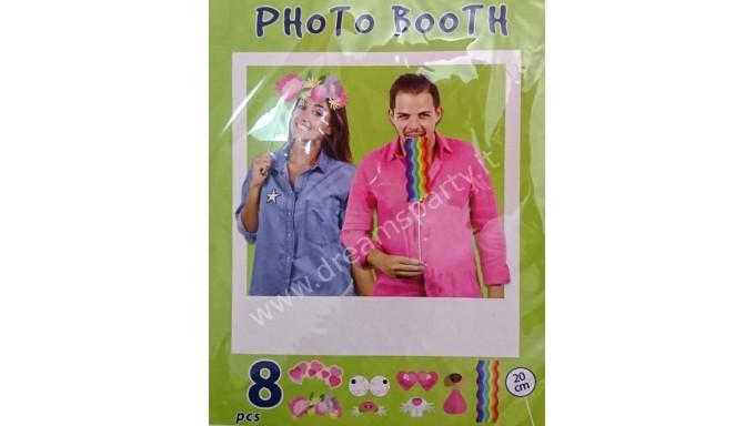 8 Props PUNTELLI BASTONCINI stick SELFIE - photo booth - misti - cornice non inclusa