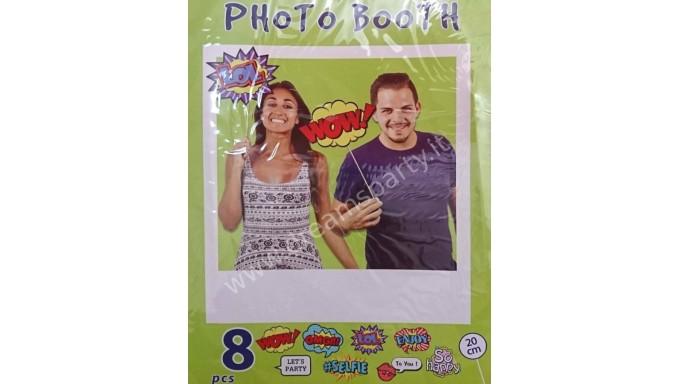8 Props PUNTELLI BASTONCINI stick SELFIE FUMETTO - photo booth - misti - cornice non inclusa