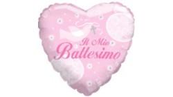 Palloncino foil Mylar BATTESIMO cuore ROSA bimba - gonfiabile ad aria o ad elio