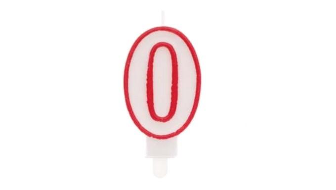 CANDELA numero 0 con bordo ROSSO per torta - candelina numerale per dolci