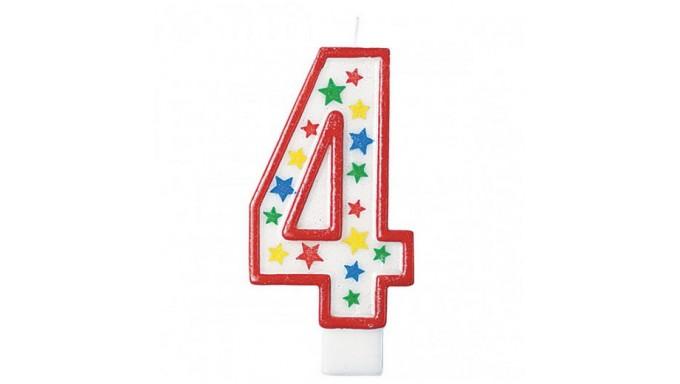 Candela numero 4 MAXI con Bordo Rosso GLITTER - Candelina numerale GIGANTE