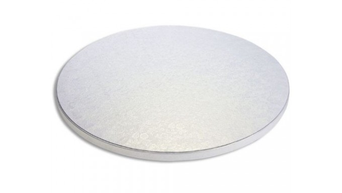 CAKE BOARD TONDO Ø 25 x H 1,2cm - Vassoio Argentato -  Piatto SottoTorta rigido