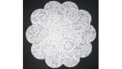 10 Sottopiatti Ø35cm in TNT BIANCO Fantasia fiori bianchi - tovaglia, TOVAGLIETTA