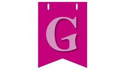 Bandiera LETTERA G in carta ROSA - per la composizione di Festone pesonalizzato o composizione di NOME