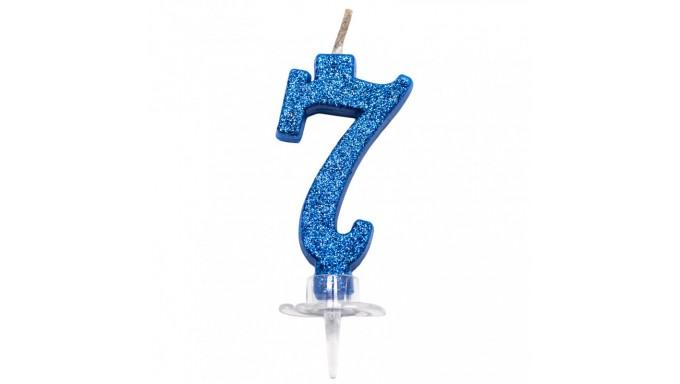CANDELA numero 7 BLU GLITTER per torta - candelina MAGICA numerale per dolci