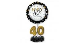 Kit CENTROTAVOLA Palloncini 40 ANNI elegant NERO e ORO- per regalo compleanno - Fai da Te