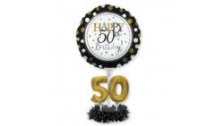 Kit CENTROTAVOLA Palloncini 50 ANNI elegant NERO e ORO- per regalo compleanno - Fai da Te