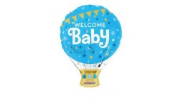 Palloncino foil Mylar WELCOME BABY sagoma mongolfiera bimbo CELESTE - gonfiabile ad aria o ad elio