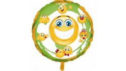 Pallone EMOTICON SMILE EMOJI - palloncino in foil Mylar gonfiabile ad aria o elio Ø45cm