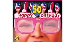 Gadget idea regalo festa 50° Compleanno OCCHIALI SAGOMA 50 Rosa con strass