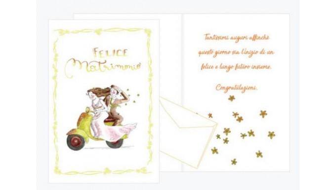 52fc81b42e40 Biglietto di auguri Augurale di Matrimonio con GLITTER - Completo di busta  - PORTA SOLDI