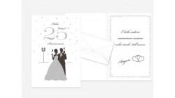 Biglietto di auguri 25° ANNIVERSARIO con GLITTER - Completo di busta - PORTA SOLDI